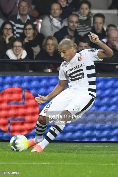 Rennes' Tunisian midfielder Wahbi Khazri kicks the ball during the French Ligue 1 football match Guingamp against Rennes on October 14 2017 at the...