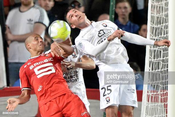 Rennes' Tunisian midfielder Wahbi Khazri vies with Caen's French midfielder Julien Feret during the French L1 football match between Stade Rennais...