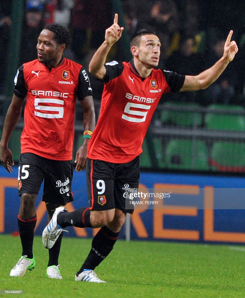 Rennes' Turkish forward Mevlut Erding celebrates after scoring during the French L1 football match Rennes vs Montpellier on October 20, 2012 at the Route de Lorient Stadium in Rennes, western France.