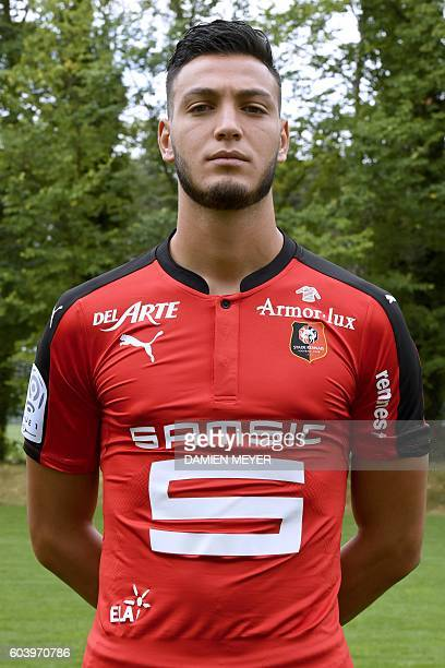 Rennes'Algeria defender Ramy Bensebaini poses during the shooting of Stade Rennais' football club's official picture in Rennes on September 12 2016 /...