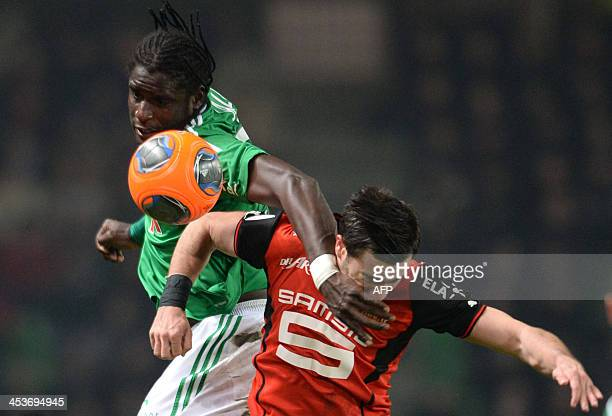 Rennes's forward Romain Alessandrini vies with Saint Etienne's defender Moustapha Sall during the French L1 football match Rennes vs SaintEtienne on...