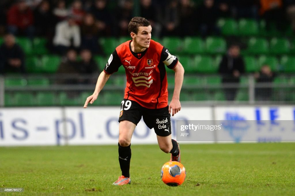 Rennes's French defender Romain Danze competes during the French L1 football match between Rennes and Montpellier on February 15, 2014 at the Route de Lorient stadium in Rennes, western France.