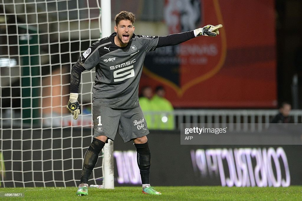 Rennes's French goalkeeper Benoit Costil reacts during the French L1 football match between Rennes and Montpellier on February 15, 2014 at the Route de Lorient stadium in Rennes, western France.