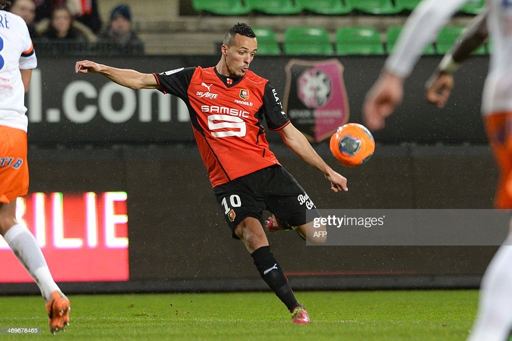 Rennes's mifielder Foued Kadir kicks the ball during the French L1 football match between Rennes and Montpellier on February 15, 2014 at the Route de Lorient stadium in Rennes, western France.