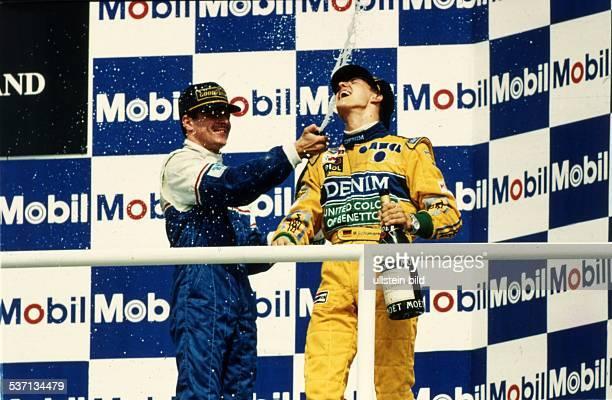Rennfahrer Auto Formel 1 D Siegerehrung dem Grossen Preis von Deutschland in Hockenheim mit Ayrton Senna 1993