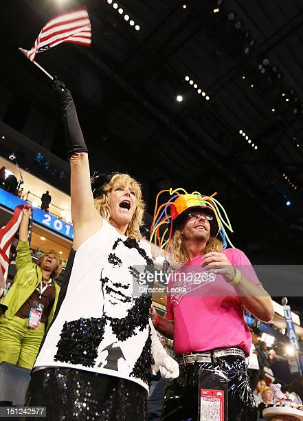 Rennick Taylor and Kelly Jacob cheer during day one of the Democratic National Convention at Time Warner Cable Arena on September 4 2012 in Charlotte...