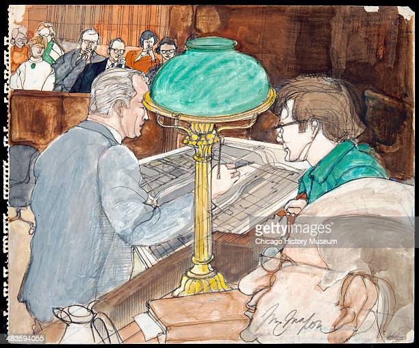 Rennie Davis and Thomas Foran with judge and jury in background in a courtroom illustration during the trial of the Chicago Eight Chicago Illinois...