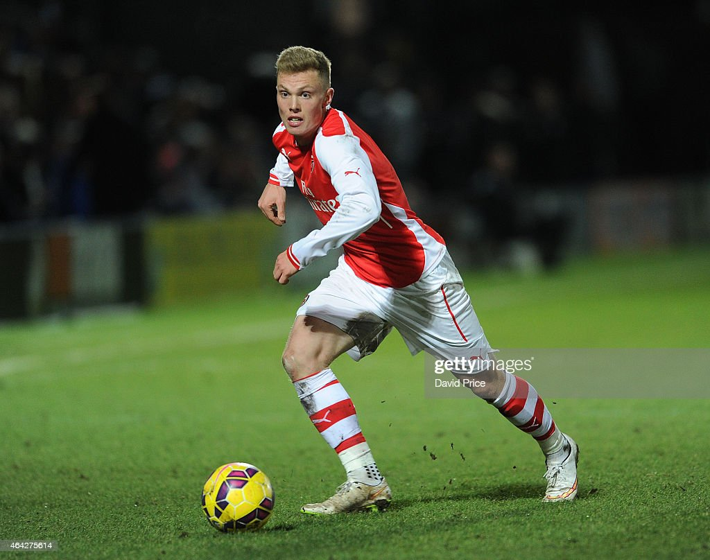 Renny Smith of Arsenal during the match between Arsenal U18 and Crewe Alexandra U18 in the FA Youth Cup 5th Round at The Hive on February 23 2015 in...