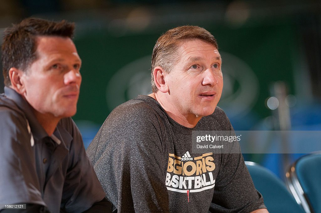 Reno Bighorns assistant coaches Deane Martin and Jason Glover watch their team warm up before playing the Bakersfield Jam the on December 7, 2012 at the Reno Events Center in Reno, Nev..