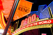 Reno Nevada glittering downtown skyline and colors at night