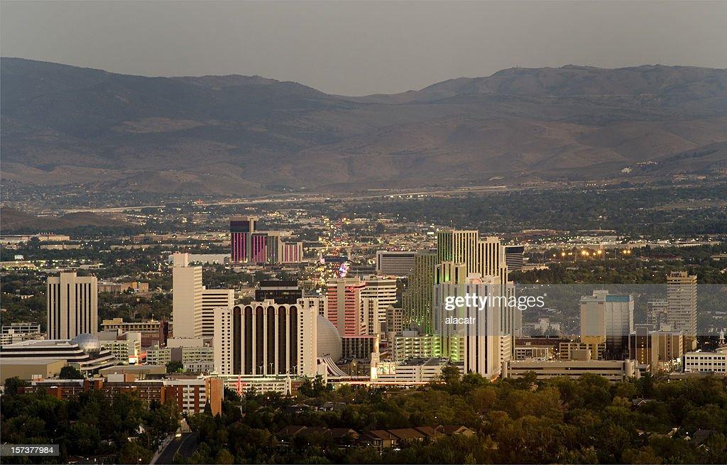 Reno Nevada Skyline, dusk : Stock Photo