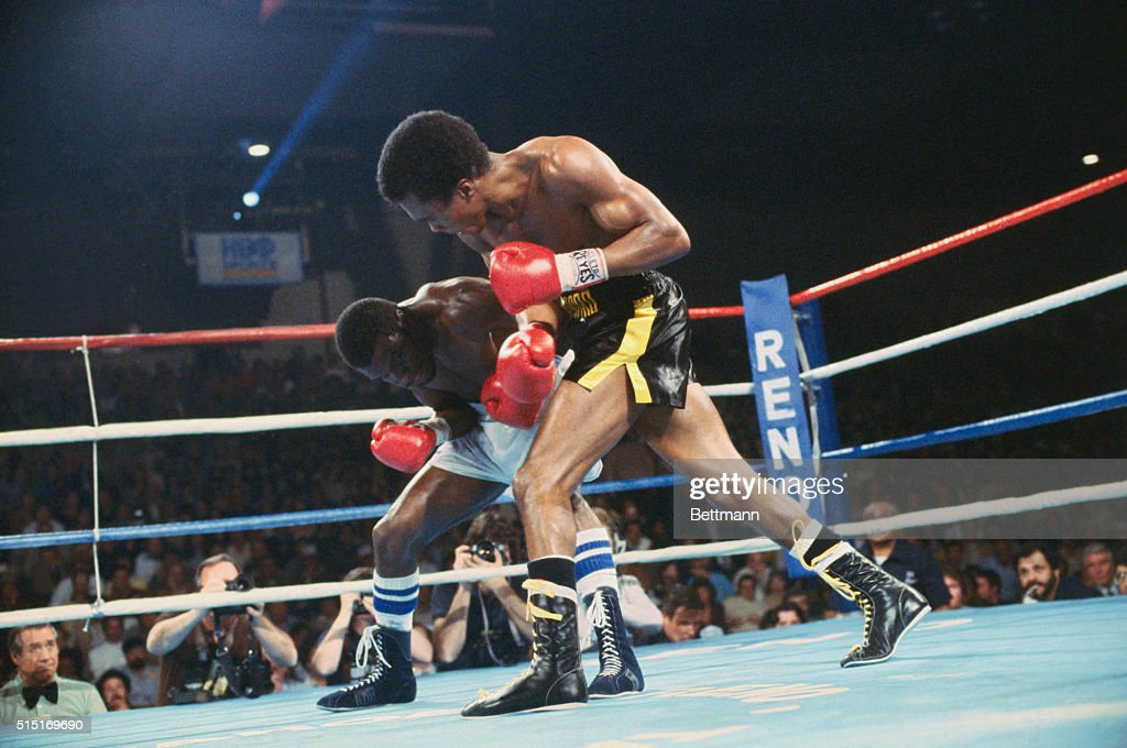 World welterweight champion Sugar ray Leonard lets loose with a vengeance in the second round of the title fight against challenger Bruce Finch...