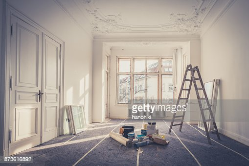 Sanierung - Wohnung während der Restaurierung - Heimwerken : Stock-Foto