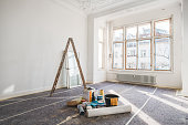 renovation concept - room in old building during restoration -