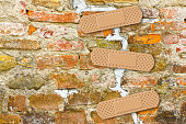Renovation of cracked brick wall - concept image with copy space