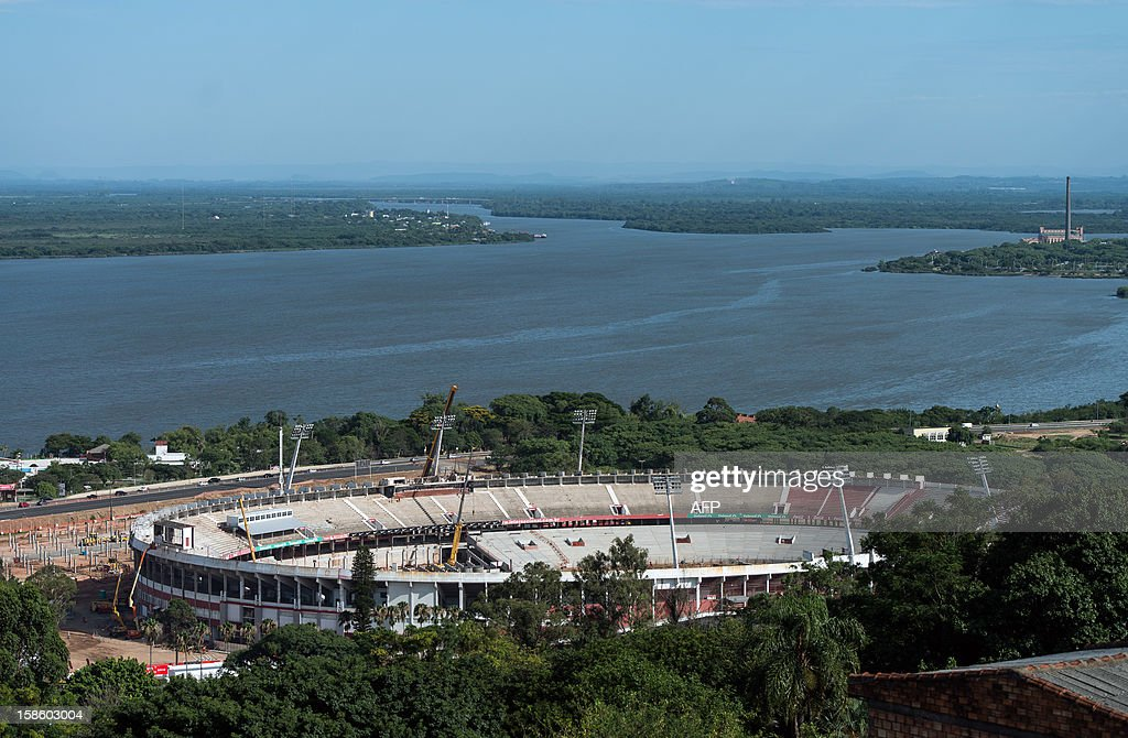 Renovation site of Beira-Rio stadium is seen in Porto Alegre, southern Brazil, on December 20, 2012. The stadium will host five World Cup matches in first and second round in 2014. AFP PHOTO/Yasuyoshi CHIBA