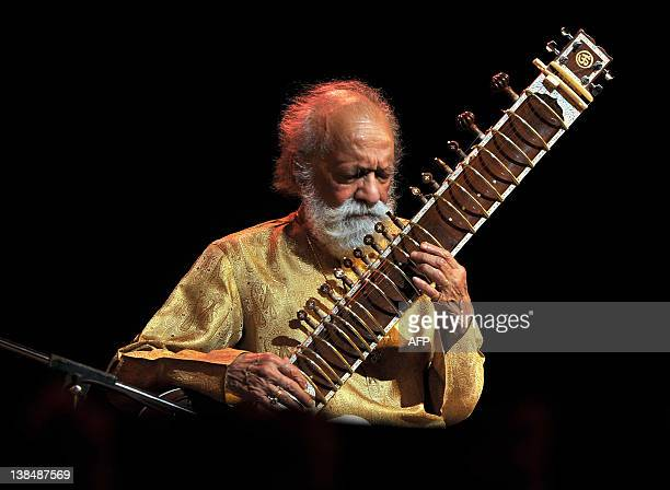 Renown Indian Sitar maestro Pandit Ravi Shankar plays during the 'Premaanjali Festival 2012' a musical concert held at the Palace Grounds in...