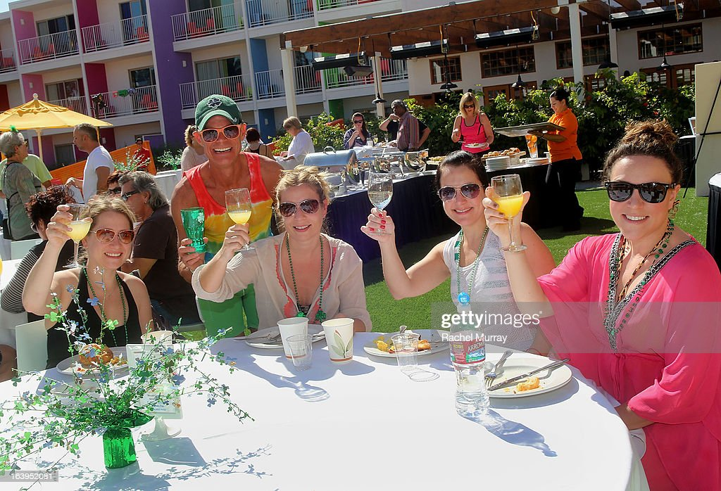 Renowned Beverly Hills hairstylist Lenny Strand (2nd-L) and guests attend the champagne brunch during Bash To Banish Bullying Benefiting It Gets Better, A Matrix Chairs Of Change Event - Day 2 at Saguaro Hotel on March 17, 2013 in Palm Springs, California.