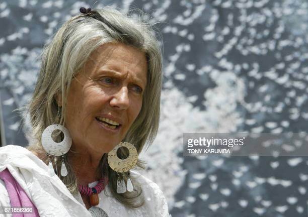 Renowned conservationist Kuki Gallmann speak sat the launch of the World Migratory Bird Day April 2006 at Laikipia where a gathering of artists...