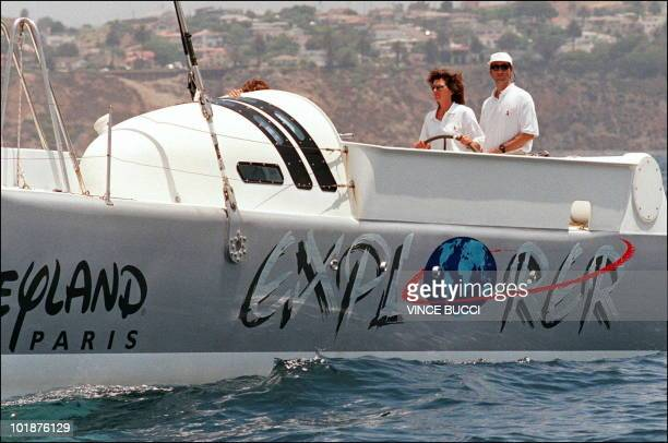 Renowned French sailors Florence Arthaud and Bruno Peyron maneuver their yacht 'Explorer' prior to start of the multihull division of the Transpac...