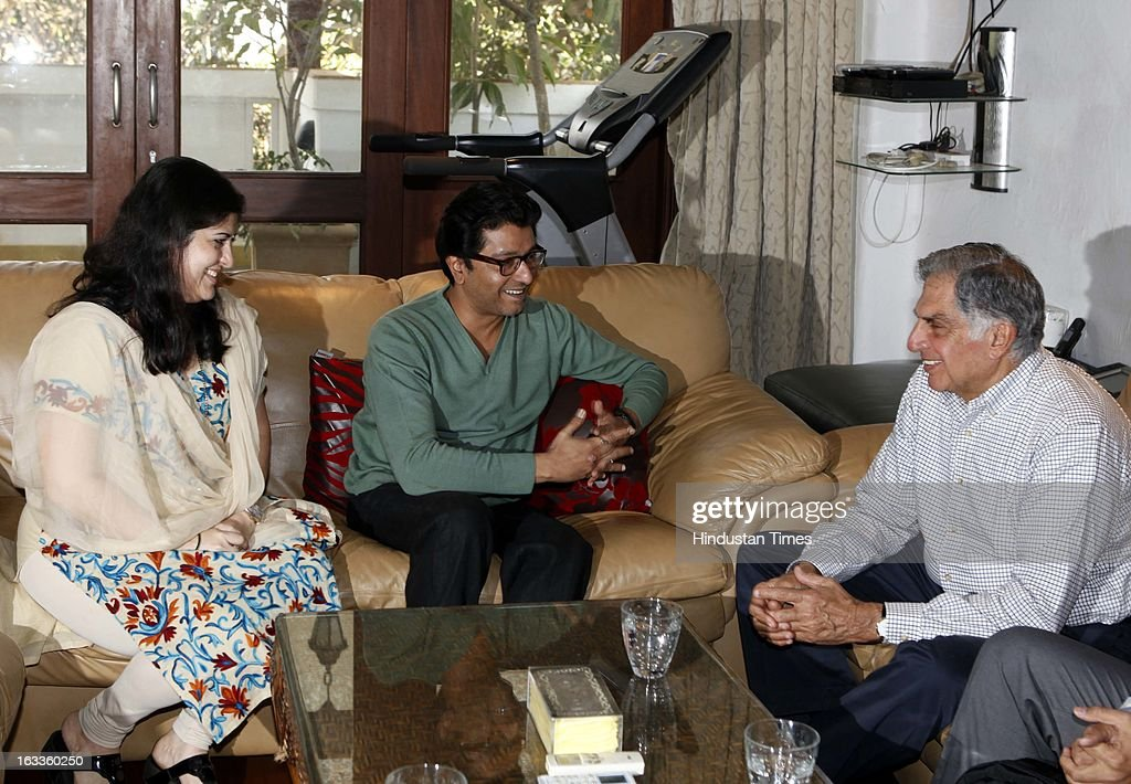 Renowned industrialist Ratan Tata met MNS President Raj Thackeray and his wife Sharmila Thackeray at Shivaji Park resident on March 8, 2013 in Mumbai, India.