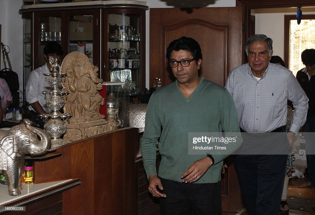 Renowned industrialist Ratan Tata met MNS President Raj Thackeray at Shivaji Park resident on March 8, 2013 in Mumbai, India.