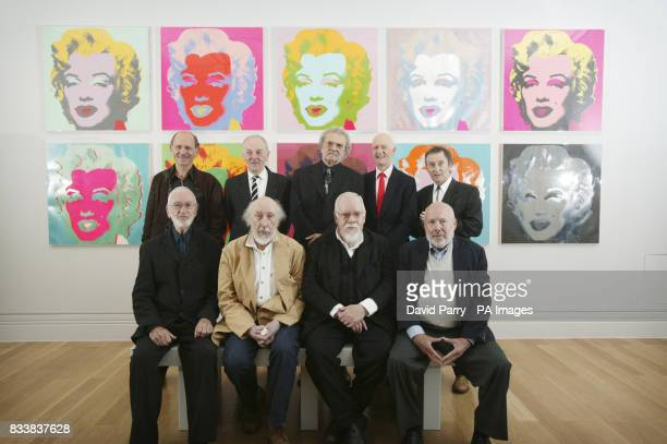 Renowned Pop artists gather together to launch the Pop Art Portraits exhibition at the National Portrait Gallery Back row left to right Peter Gidal...