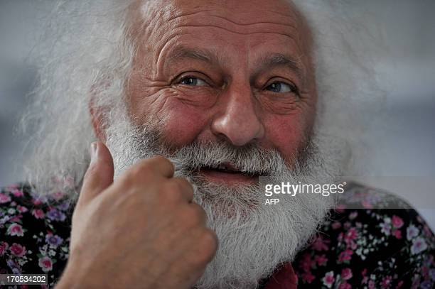Renowned Russian clown Slava Polunin speaks during his interview with AFP at his office in the Big Saint Petersburg Circus in the northwestern...