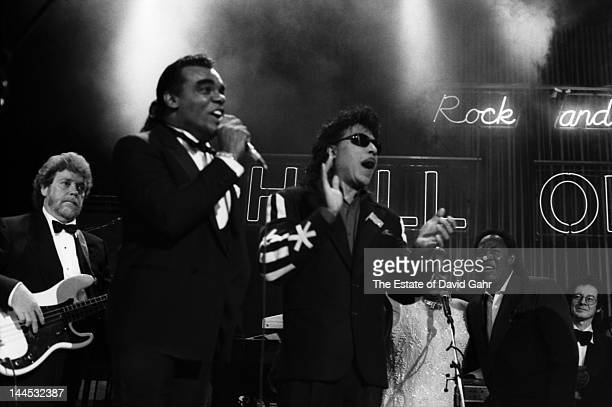 Renowned Stax Records performers and Little Richard perform onstage in January 1992 at the 1992 Rock and Roll Hall of Fame awards ceremony in New...