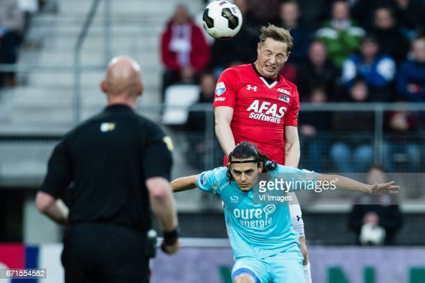 Rens van Eijden of AZ Enes Unal of FC Twenteduring the Dutch Eredivisie match between AZ Alkmaar and FC Twente at AFAS stadium on April 22 2017 in...