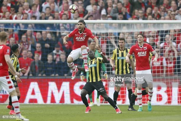 Rens van Eijden of AZ goalkeeper Nick Olij of AZ Muamer Tankovic of AZ Marvelous Nakamba of Vitesse Matt Miazga of Vitesse Wout Weghorst of AZduring...