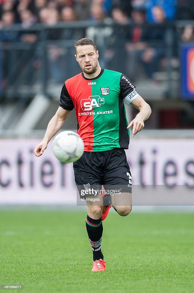 Rens van Eijden of NEC Nijmegen during the Dutch Eredivisie match between NEC Nijmegen and Fc Twente at the Goffert stadium on April 27 2014 in...