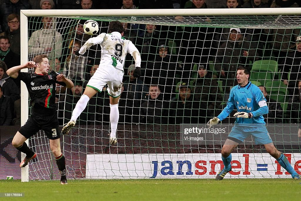 Rens van Eijden of NECDavid Texeira of FC GroningenGabor Babos of NEC during the Dutch Eredivisie match between FC Groningen and NEC Nijmegen at the...