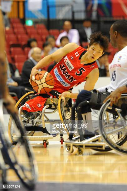 Renshi Chokai of Japan in action during the Wheelchair Basketball World Challenge Cup match between Great Britain and Japan at the Tokyo Metropolitan...