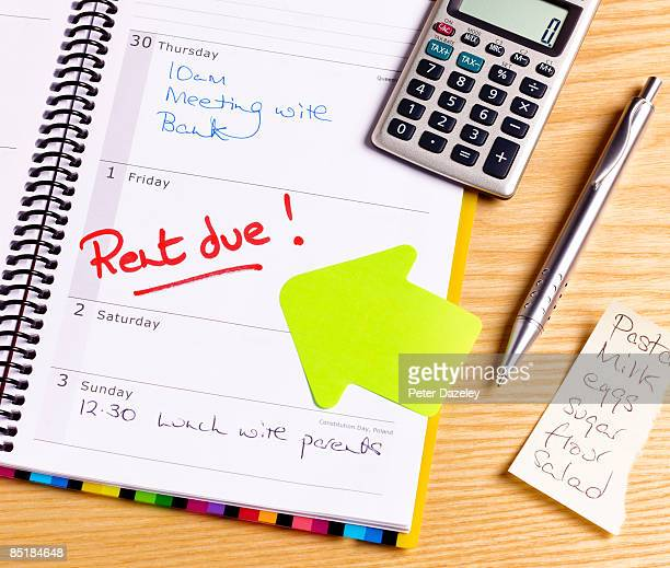Rent due deadline in diary