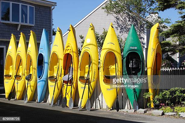 Rental kayaks at shop by harbor Vinalhaven Island Maine New England USA