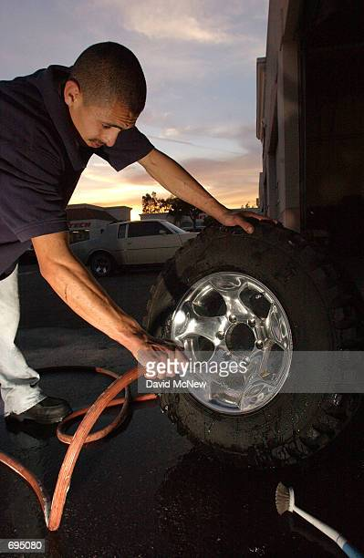 RentAWheel employee Jose Curiel washes rental rims January 25 in Santa Ana CA Despite the recent economic downturn custom wheel consumers continue to...