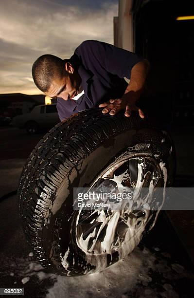 RentAWheel employee Jose Curiel washes rental rims January 25 in Santa Ana CA Despite the recent economic downturn custom wheel consumers continue to...
