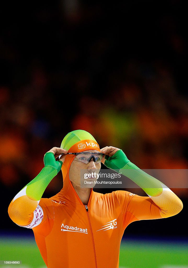 Renz Rotteveel of Netherlands gets ready to compete in the 1500m Mens race during the Essent ISU European Speed Skating Championships 2013 at Thialf Stadium on January 12, 2013 in Heerenveen, Netherlands.