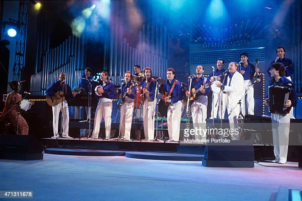 Renzo Arbore onstage with the Orchestra Italiana the band the show man native of Foggia established in 1991 with the aim of reintroducing the...