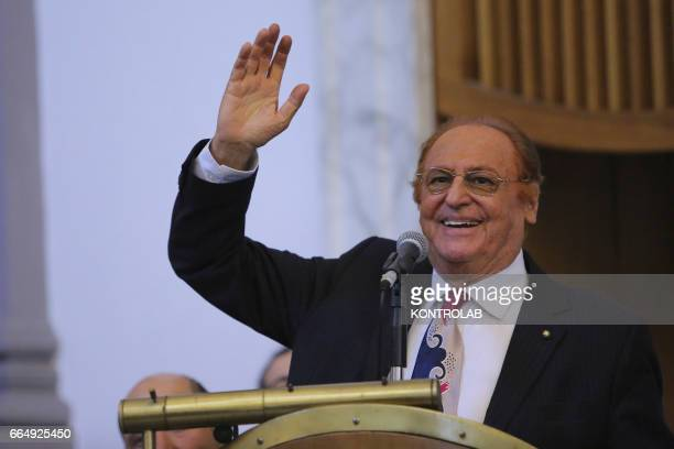 Renzo Arbore songwriter and passionate of Naples greets the audience during a time of celebration of conferring an honorary degree to the famous...