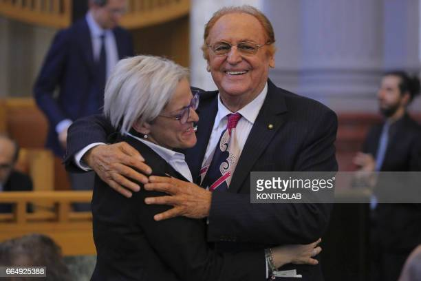 Renzo Arbore songwriter and passionate of Naples hugs Elena De Curtis grandson of Totò during a moment of the grant of an Honorary Degree at Totò...
