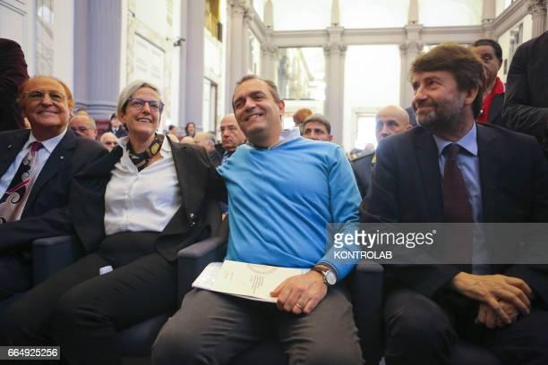 Renzo Arbore songwriter and passionate of Naples Luigi De Magistris Mayor Elena De Curtis grandson of Tot and Minister Dario Franceschini during a...