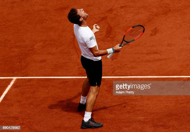 Renzo Olivo of Argentina celebrates defeating JoWilfried Tsonga of France in the first round match on day four of the 2017 French Open at Roland...