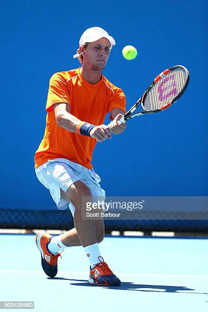 Renzo Olivo of Argentina plays a backhand in his first round match against Jiri Vesely of the Czech Republic during day one of the 2016 Australian...