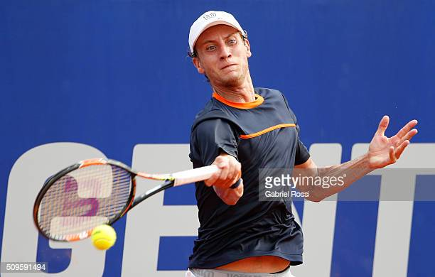 Renzo Olivo of Argentina takes a forehand shot during a match between David Ferrer of Spain and Renzo Olivo of Argentina as part of ATP Argentina...