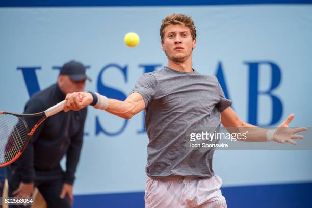 Renzo Olivo plays a forehand during the ATP Swiss Open Gstaad on July 25 2017 at Roy Emerson Arena in Gstaad Switzerland