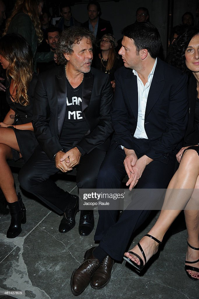 Renzo Rosso and Matteo Renzi attend Diesel Black Gold fashion show during Pitti Immagine Uomo 85 on January 8, 2014 in Florence, Italy.
