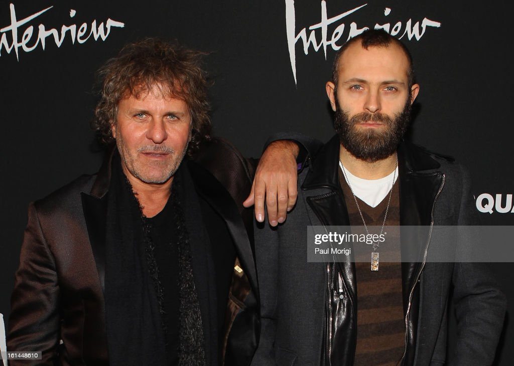 <a gi-track='captionPersonalityLinkClicked' href=/galleries/search?phrase=Renzo+Rosso&family=editorial&specificpeople=614354 ng-click='$event.stopPropagation()'>Renzo Rosso</a> and Stefano Rosso arrive to DSquared2 and Interview Magazine's premiere screening of 'Behind The Mirror': Spring Summer 2013 Campaign at Copacabana on February 10, 2013 in New York City.