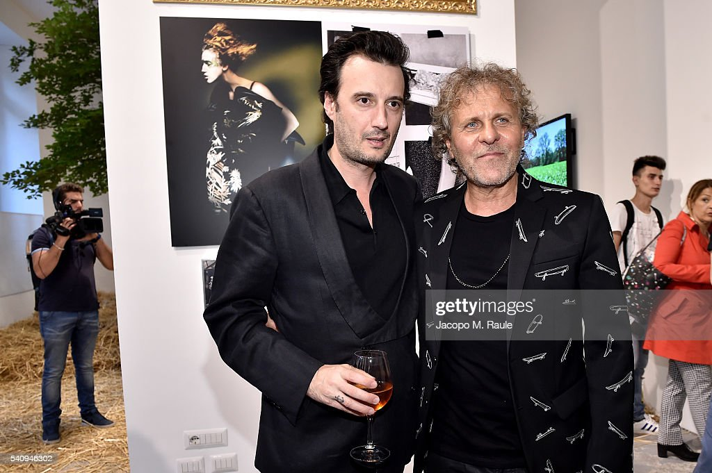 Renzo Rosso andMatteo Ceccarini attend Renzo Rosso And OTB Launch 'Radical Renaissance 555' Book on June 17 2016 in Milan Italy